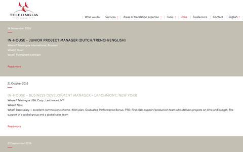 Screenshot of Jobs Page telelingua.com - Jobs - Telelingua - captured Nov. 29, 2016