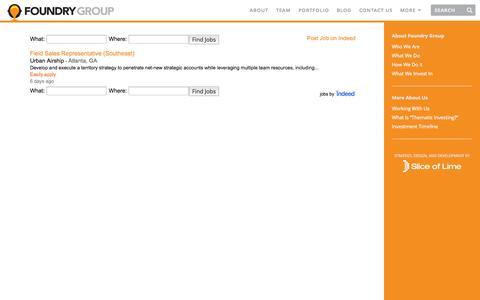 Screenshot of Jobs Page foundrygroup.com - Jobs | Foundry Group - captured Nov. 3, 2014