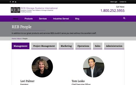 Screenshot of Team Page rebstorage.com - REB Employees and Departments | REB Storage Systems International - captured Sept. 21, 2018