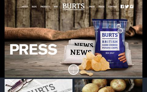 Screenshot of Press Page burtschips.com - Press - Burts Chips - captured Feb. 8, 2016
