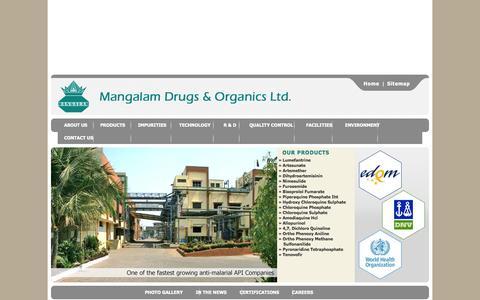 Screenshot of Home Page mangalamdrugs.com - Mangalam Drugs & Organics Ltd. - captured Oct. 4, 2014