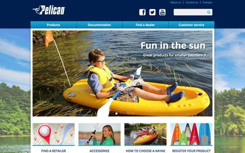 Screenshot of Home Page pelicansport.com - Pelican Sport   Kayaks, Canoes, SUPs, Fishing Boats, Pedal Boats - captured Sept. 23, 2014