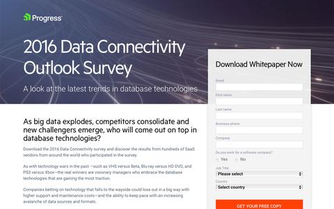 Screenshot of Landing Page progress.com - Whitepaper | 2016 Data Connectivity Outlook - captured July 17, 2019