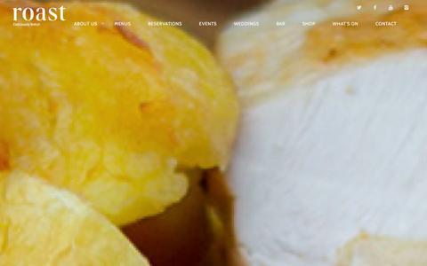 Screenshot of Home Page roast-restaurant.com - Roast Restaurant | Deliciously British - captured Dec. 11, 2015
