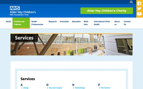 Screenshot of Services Page alderhey.nhs.uk - Services :: Alder Hey Children's Hospital Trust - captured Oct. 3, 2018