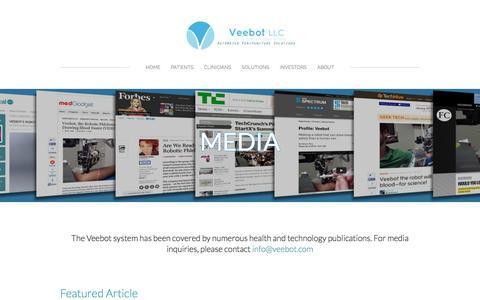 Screenshot of Press Page veebot.com - Media - Veebot, LLC - captured Jan. 10, 2016