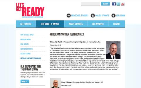 Screenshot of Testimonials Page letsgetready.org - Testimonials - Let's Get Ready - captured Dec. 9, 2015