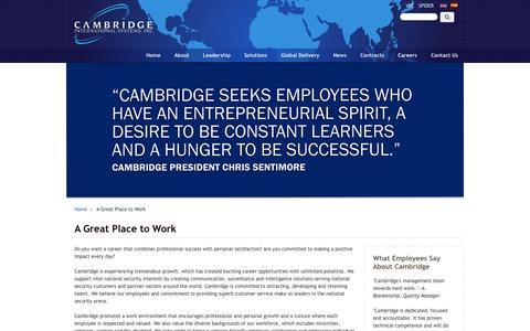 Screenshot of Jobs Page cbridgeinc.com - A Great Place to Work | Cambridge International Systems, Inc. - captured Oct. 1, 2014
