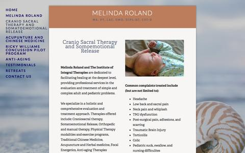 Screenshot of Menu Page integraltherapies.com - Cranio Sacral Therapy and Somatoemotional Release — Melinda Roland - captured Oct. 6, 2014