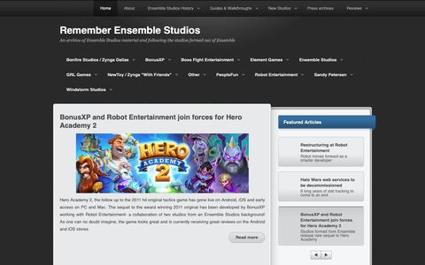 Screenshot of Home Page remember-ensemblestudios.com - Remember Ensemble Studios - captured Oct. 23, 2018