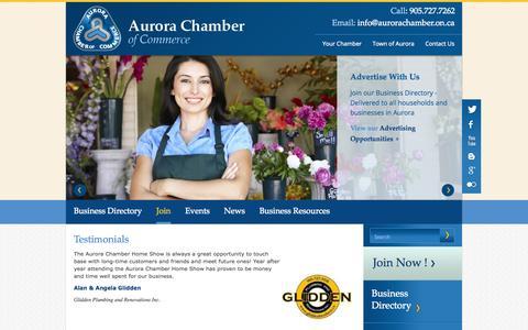 Screenshot of Testimonials Page aurorachamber.on.ca - Testimonials | Aurora Chamber of Commerce - captured Oct. 4, 2014