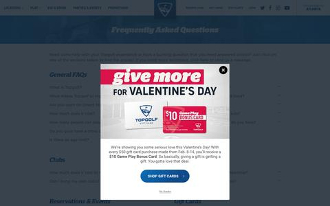 Screenshot of FAQ Page topgolf.com - Frequently Asked Questions - Topgolf - captured Feb. 10, 2019
