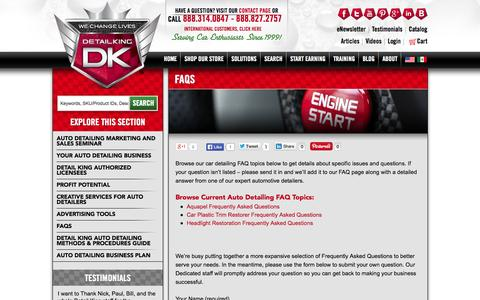 Screenshot of FAQ Page detailking.com - FAQs | Detail King - captured Sept. 22, 2014