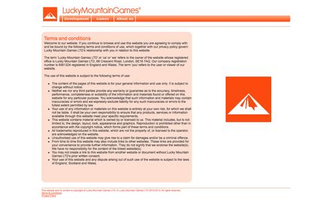 Screenshot of Terms Page luckymountaingames.com - Lucky Mountain Games LTD   Terms and Conditions - captured Oct. 3, 2014