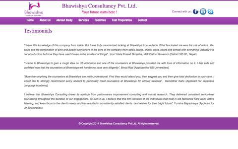 Screenshot of Testimonials Page bhawishya.org - Bhawishya Consultancy - captured Oct. 1, 2014