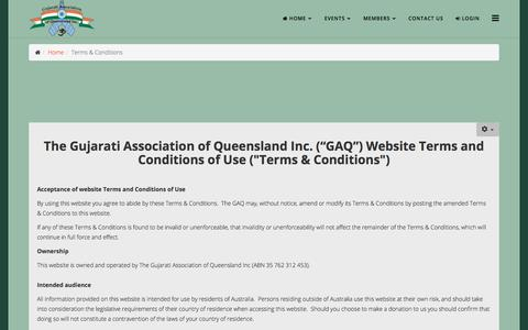 Screenshot of Terms Page gaq.org.au - Terms & Conditions - captured Sept. 25, 2018