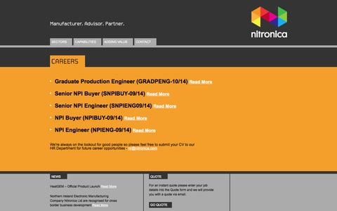 Screenshot of Jobs Page nitronica.com - Careers | Nitronica - captured Oct. 10, 2014