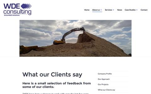 Screenshot of Testimonials Page wdeconsulting.co.uk - What our Clients say – WDE Consulting - captured Dec. 20, 2016