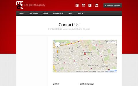 Screenshot of Contact Page mcand.co.uk - Need to get in touch? Contact MC&C | MC&C - captured Sept. 19, 2014