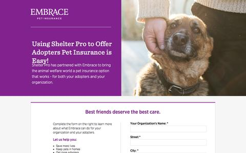 Screenshot of Landing Page embracepetinsurance.com - Embrace Pet Insurance | Experience Better Pet Insurance with EMBRACE - captured June 30, 2016