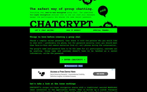 Screenshot of Home Page chatcrypt.com - CHATCRYPT | Secure group chat - captured July 3, 2018