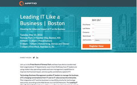 Screenshot of Landing Page apptio.com - Leading IT Like a Business | Boston - captured April 19, 2016