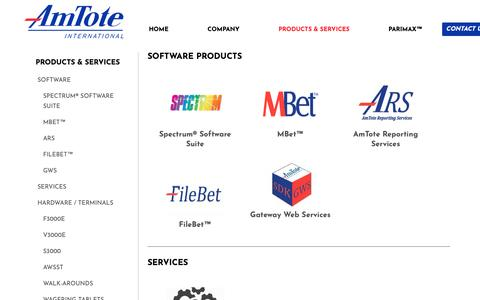 Screenshot of Products Page amtote.com - Products | AmTote International - captured Oct. 3, 2018