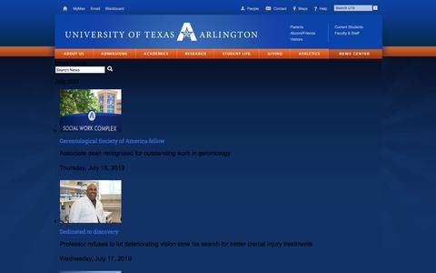 Screenshot of Press Page uta.edu - UTA News Center - captured July 18, 2019