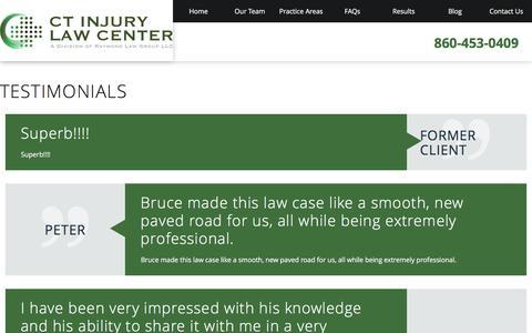 Screenshot of Testimonials Page ct-injurylawcenter.com - Testimonials | Personal Injury Attorney in Hartford - captured July 10, 2016
