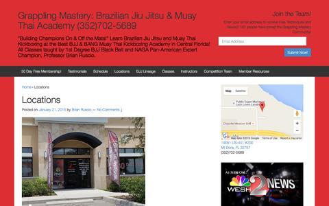 Screenshot of Locations Page grapplingmastery.com - Grappling Mastery: Brazilian Jiu Jitsu & Muay Thai - captured July 17, 2016
