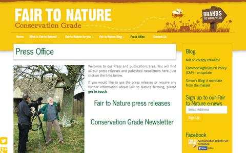 Screenshot of Press Page conservationgrade.org - Press Office, Biodiversity FarmingFair To Nature Farming | Conservation Grade - captured Sept. 30, 2014