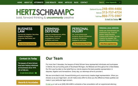 Screenshot of Team Page hertzschram.com - Hertz Schram, PC | Detroit Michigan Law Firm - captured Oct. 3, 2014