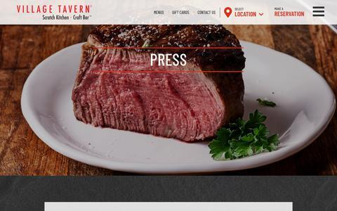 Screenshot of Press Page villagetavern.com - Press Archives | Village Tavern - captured Oct. 18, 2018