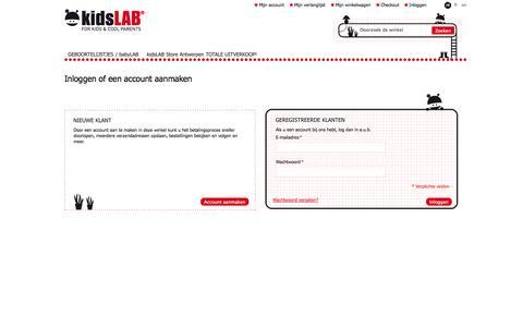 Screenshot of Login Page kidslab.com - Magento Commerce - captured Nov. 2, 2014