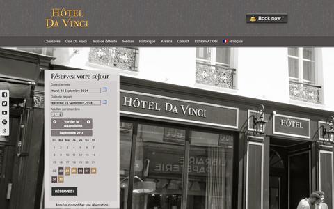 Screenshot of Home Page hoteldavinciparis.com - Hôtel **** Da Vinci, 25 rue des Saints Pères, 75006 Paris, France – SITE OFFICIEL - captured Sept. 23, 2014