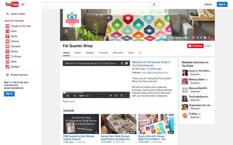 Screenshot of YouTube Page youtube.com - Fat Quarter Shop  - YouTube - captured Oct. 23, 2014