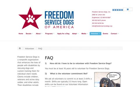 Screenshot of FAQ Page freedomservicedogs.org - FAQ | Freedom Service Dogs - captured Oct. 6, 2014