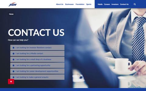 Screenshot of Contact Page jsw.in - JSW - Contact Us - captured June 2, 2016