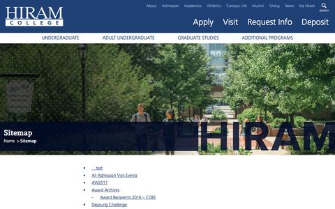 Screenshot of Site Map Page hiram.edu - Hiram College | Sitemap - captured June 28, 2017