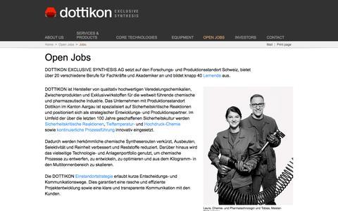 Screenshot of Jobs Page dottikon.com - Dottikon Exclusive Synthesis - captured Feb. 9, 2016