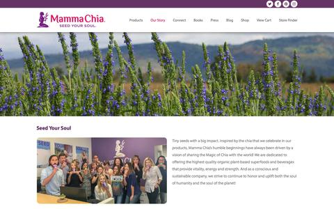 Screenshot of About Page mammachia.com - About Us | Mamma Chia | Organic Plant-based Superfood Company - captured July 27, 2018