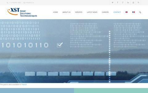 Screenshot of Contact Page xst.ca - VTMIS INNAV from Xpert Solutions Technologiques is Maritime Safety through innovation!  –  Contact - captured Oct. 27, 2014