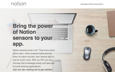 Screenshot of Developers Page notion.is - Developers: Home Monitoring Device & Technology API | Notion - captured Nov. 22, 2017