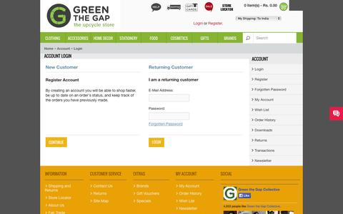 Screenshot of Login Page greenthegap.com - Account Login - captured Sept. 30, 2014