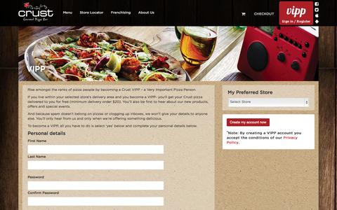 Screenshot of Signup Page crust.com.au - Crust Gourmet Pizzas - captured Sept. 19, 2014
