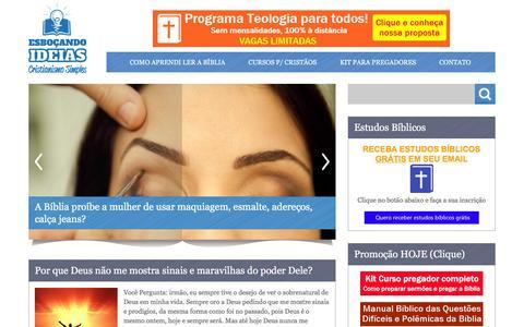 Screenshot of Home Page esbocandoideias.com - Esboçando Ideias  Um blog Evangélico   Aprenda sobre a Bíblia Sagrada de forma simples - captured Jan. 20, 2016