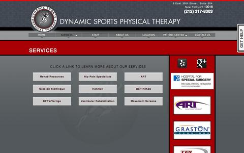 Screenshot of Services Page dynamicsportspt.com - Services | Dynamic Sports Physical Therapy NYC - captured Oct. 6, 2014