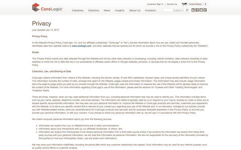 CoreLogic - Privacy Policy