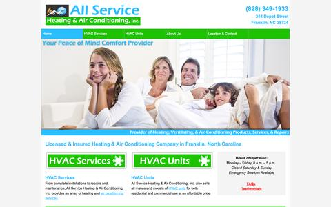 Screenshot of Home Page allservicewnc.com - Heating Company, Air Conditioning Company   Franklin, NC - captured Oct. 4, 2014