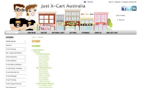 Screenshot of Site Map Page justxcart.com.au - X-Cart Gold | X-Cart Australian-based Hosting | X-Cart Training | X-Cart Support - captured Oct. 6, 2014